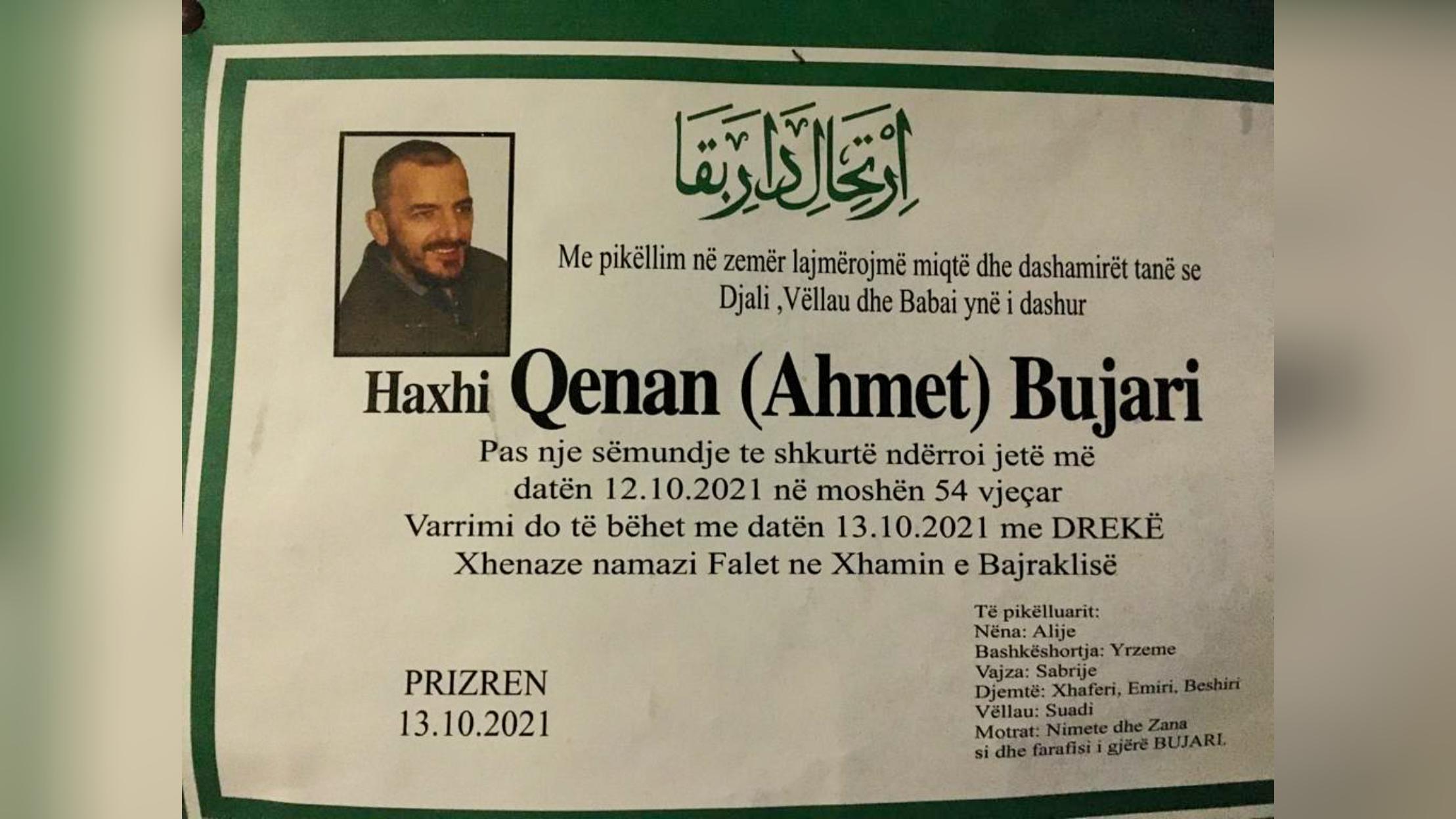 Ndërroi jetë Haxhi Qenan Bujari veprimtar nga Prizreni